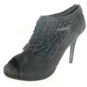 FAHRENHEIT Black Suede Scale Peep Toe Pump Heels